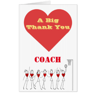 Netball Coach Thank You Giant Greeting Card