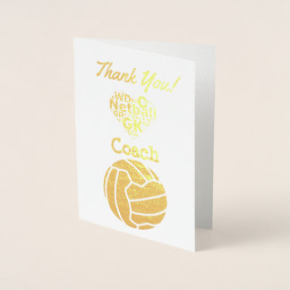 Netball Coach Thank You Gold Foil Card