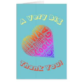 Netball Heart Coach Big Thank You Greeting Card