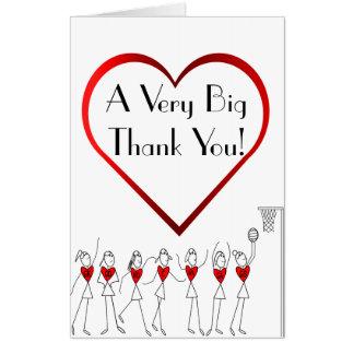 Netball Heart Thank You Coach Big Greeting Card