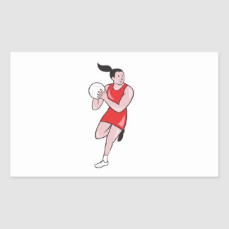 Netball Player Catching Ball Isolated Cartoon Stickers