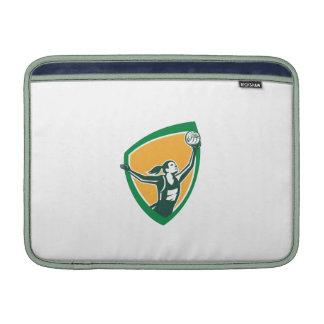 Netball Player Catching Ball Shield Retro MacBook Air Sleeve