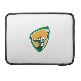 Netball Player Catching Ball Shield Retro Sleeve For MacBook Pro