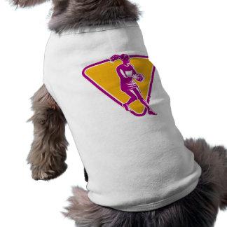 netball player catching passing ball doggie shirt