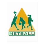 netball player catching passing ball postcard