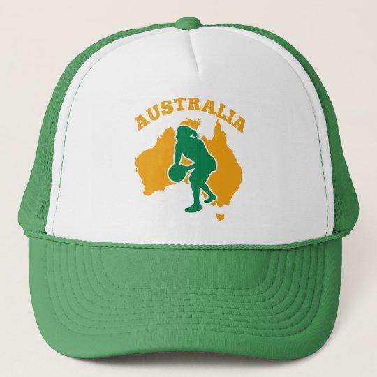 Netball player passing ball Australia Map Trucker Hat