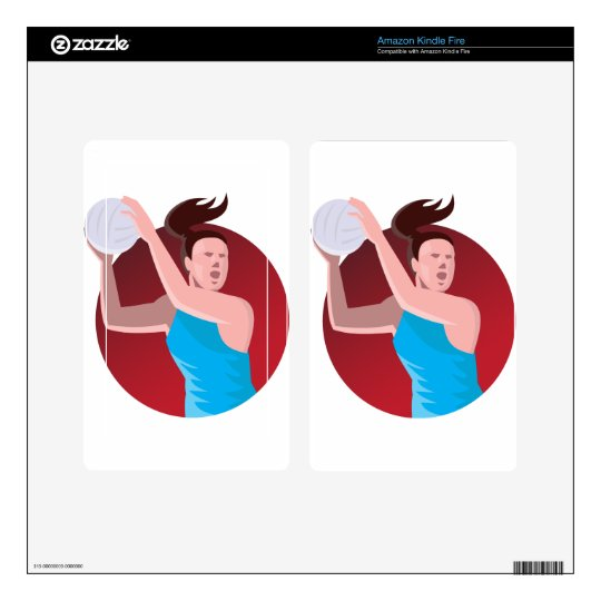netball player passing ball retro decal for kindle fire