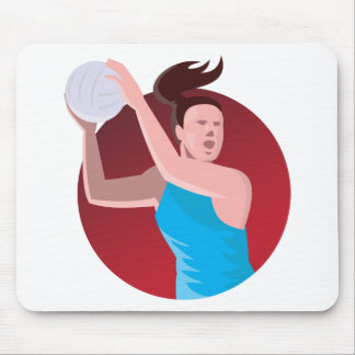 netball player passing ball retro mouse pad
