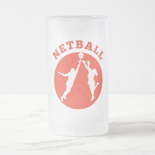 Netball player rebounding for ball coffee mug