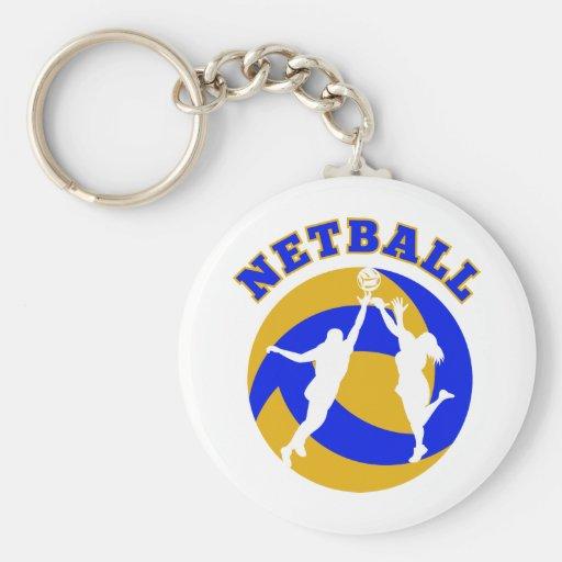 Netball player rebounding for ball key chains