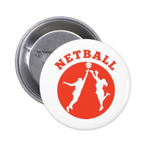 Netball player rebounding for ball pinback button