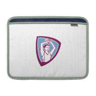 Netball Player Shooting Ball Shield Retro MacBook Air Sleeves