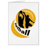 Netball player shooting blocking the shot greeting card