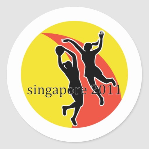 Netball player Singapore 2011 Classic Round Sticker