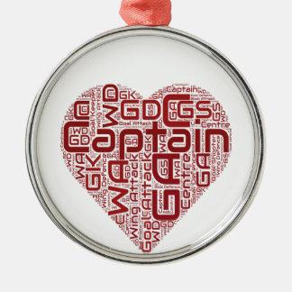 Netball Positions Heart Design Metal Ornament