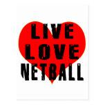 Netball vivo del amor tarjeta postal