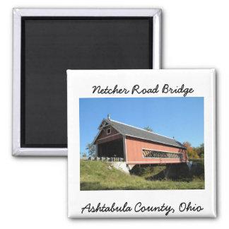 Netcher Rd Covered Bridge Ashtabula County Ohio 2 Inch Square Magnet