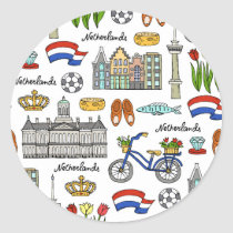 Netherland Doodle Pattern Classic Round Sticker