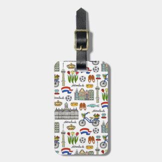 Netherland Doodle Pattern Luggage Tag