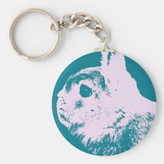 Netherland dwarf rabbit teal keychain