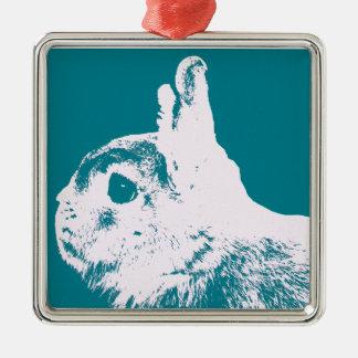 Netherland dwarf rabbit teal metal ornament