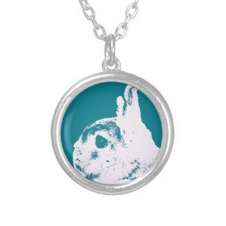 Netherland dwarf rabbit teal round pendant necklace