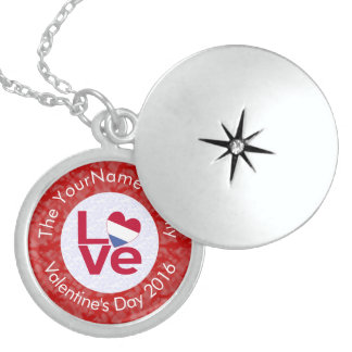 Netherlander LOVE White on Red Sterling Silver Necklace