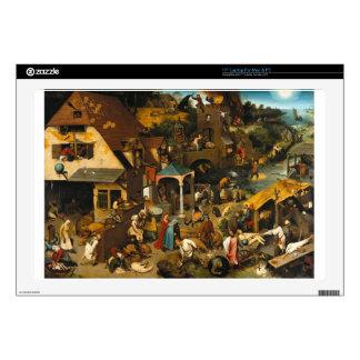 """Netherlandish Proverbs by Pieter Bruegel the Elder 17"""" Laptop Skin"""