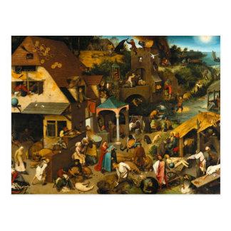 Netherlandish Proverbs by Pieter Bruegel the Elder Post Card