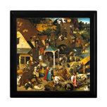 Netherlandish Proverbs, Pieter Bruegel painting Trinket Boxes