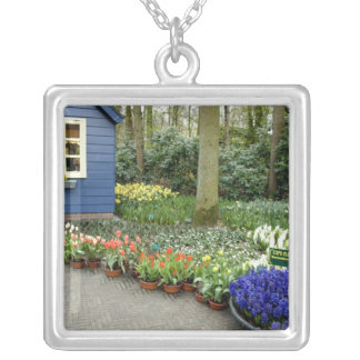 Netherlands aka Holland), Lisse. Keukenhof 11 Silver Plated Necklace