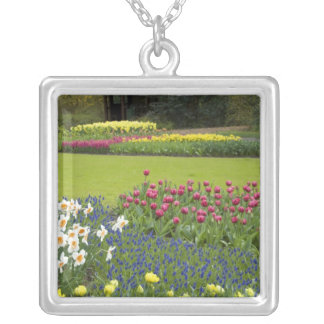 Netherlands aka Holland), Lisse. Keukenhof 5 Silver Plated Necklace