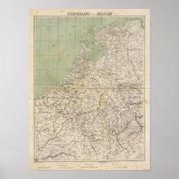 Netherlands and Belgium Atlas Map Poster
