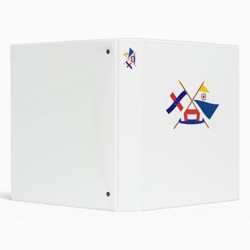 Netherlands Antilles and Bonaire Crossed Flags Vinyl Binder