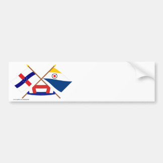 Netherlands Antilles and Bonaire Crossed Flags Bumper Sticker