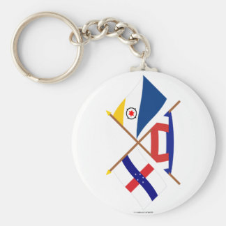 Netherlands Antilles and Bonaire Crossed Flags Keychains