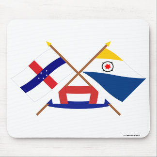Netherlands Antilles and Bonaire Crossed Flags Mouse Pad