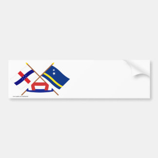 Netherlands Antilles and Curacao Crossed Flags Bumper Sticker