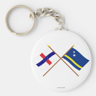 Netherlands Antilles and Curacao Crossed Flags Key Chain