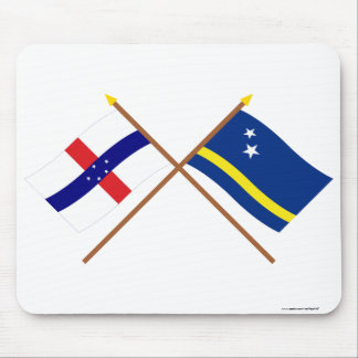 Netherlands Antilles and Curacao Crossed Flags Mouse Pad