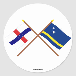 Netherlands Antilles and Curacao Crossed Flags Classic Round Sticker