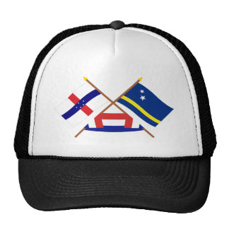 Netherlands Antilles and Curacao Crossed Flags Trucker Hat