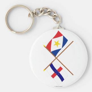Netherlands Antilles and Saba Crossed Flags Key Chain