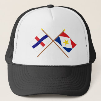 Netherlands Antilles and Saba Crossed Flags Trucker Hat