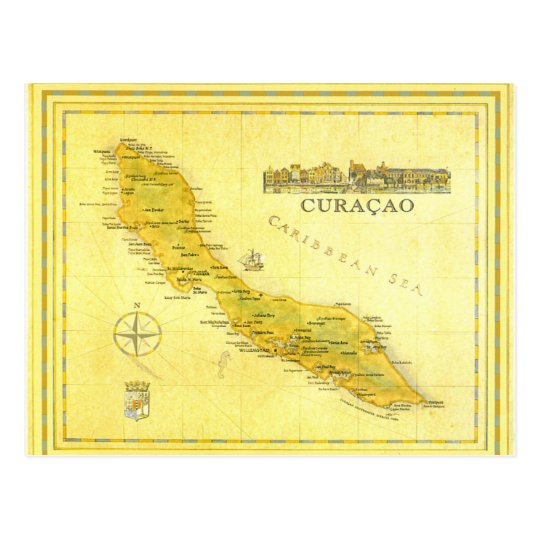 Netherlands Antilles Curacao Map Paper Postcard Zazzlecom