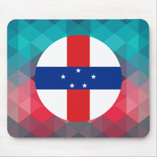 Netherlands Antilles flag circle on modern bokeh Mouse Pad