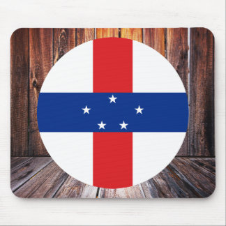 Netherlands Antilles flag circle on wood backgroun Mouse Pad