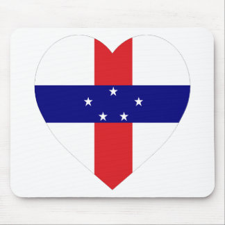 Netherlands Antilles Flag Heart Mouse Pad