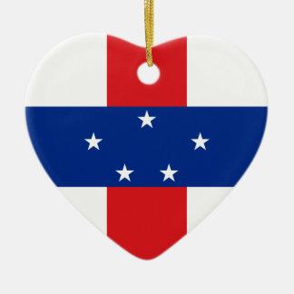 Netherlands Antilles Flag Heart Ornament