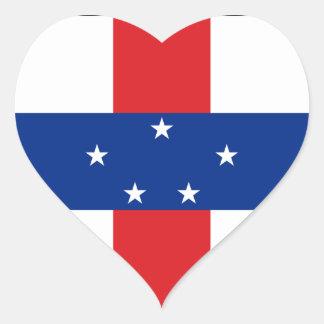 Netherlands Antilles Flag Heart Sticker